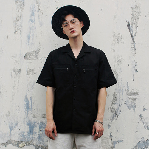 SL-008 ZIPPER POCKET SHIRT BLACK