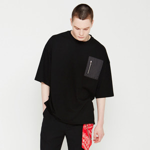 OVU-022 ZIPPER POCKET T SHIRT BLACK