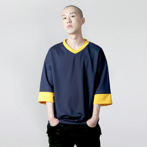 VV-004 V-NECK OVERFIT T-SHIRT NAVY