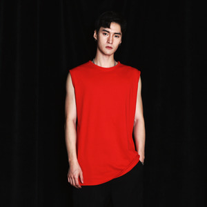 OS-005 OVER FIT SLEEVELESS RED