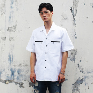 SL-009 ZIPPER POCKET SHIRT WHITE